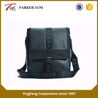 Gray non-shiny leather single shoulder messenger bag for men