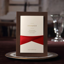 Elegant Coffee Color Wedding Invitations with Red Ribbon, Print Your Own Wording for Free, Ship Worldwide 3-5 Days