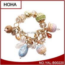 Light Black Crystal Bangle Glass Faceted Bead Mix Rinestone Infinity Bracelet