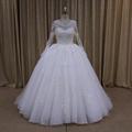 luxo decote bateau sheer voltar beading espartilho vestido de casamento árabe foto