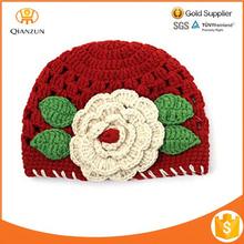 Baby Girls Knitted Hat Crochet Cute Red Flowers Beanie Winter Cap