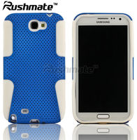 Blue+White Hybrid Mesh Silicone Case Cover Skin for Samsung Galaxy Note2 II N7100