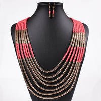 Fashion cheap brand thick nepalese beads necklace