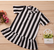 2015 korean style children girl summer dress tops stripe printed white/black tops