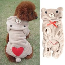 Lovely Soft Fleece Pet Puppy Dog Clothes Teddy Bear Jumpsuit Costume Winter Warm Hoodie