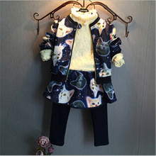 TG058 kids clothes wholesale children clothing sets cat printed jacket with skirts sets for 2 years old girl