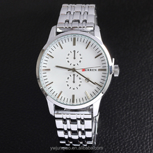Business brand CURREN stainless steel silver band no number two imitate dial watches