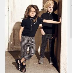 EUROEPAN STYLE KIDS BOYS AUTUMN HANDSOME FASHION CLOTHES OUTFITS,POLO T-SHIRT+STRIPES PANT