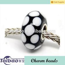 Negro blanco& punto encanto murano cuentas de vidrio 925 cordón de plata pulsera de dijes ajuste europeos de joyería