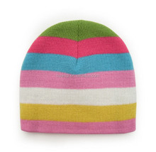 Double Layerred Colorful Stripe Knitted Funny Wholesale Winter Hats for young Gilrs