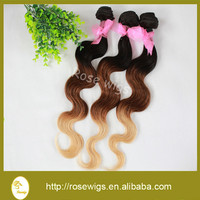 Alibaba Express 2015 Hot Sale Wholesale body wave three tone color brazilian hair extension human virgin hair weaving weft