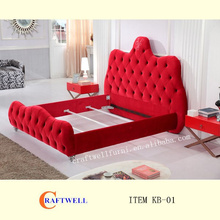 diamond button decoration luxury antique fabric bed high bedhead