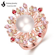 Latest design rose gold pearl ring for women with AAA zircon