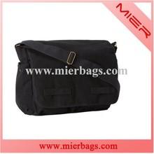 Black canvas messenger bag high quality flap bag hot selling mens shoulder bag