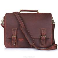 "Vintage Genuine Cow Leather Briefcase Messenger Bag, Fit 16"" Laptop"