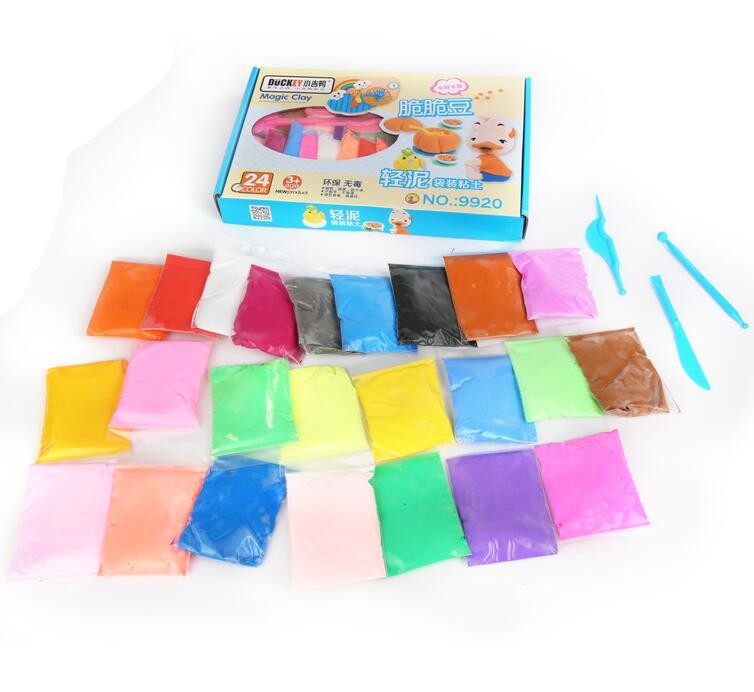 24 Renk Hamuru Modelleme Kil, Hava Kuru Kil Seti, Çocuklar için Hafif Hamuru Silgi Ile Fimo Kil Araçları