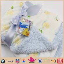 one side print soft fabric the other side sherpa blanket two layers baby blanket/baby's print blanket