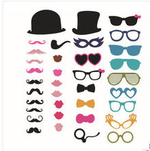 Valentines day Party gifts Photo Booth Props Glasses Hat red lips Mustache Wedding Birthday Favor decoration( 1set = 36 pcs )