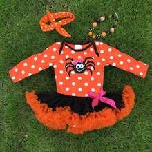NEW ARRIVAL newborn orange tutu romper kids Halloween tutu romper kid polka dot romper with necklace and headband