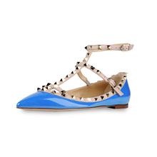 Sapatos femininos de verão rebites boca rasa lady flat sapatos fechados