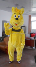 Yellow giant plush teddy bear shape design performance costumes for adults