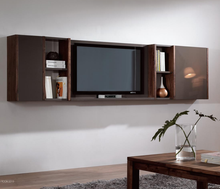Modern Vintage Walnut Wood Hanging Wall Cabinet Design Living Room Wall Mount TV Cabinet Design