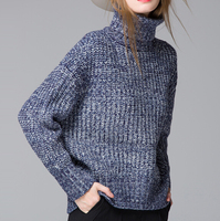 d82026f 2015 wholesale pullover knitted loose women high collar sweater
