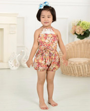 Wholesale baby organic cotton floral rompers, dance lace jumpsuits, newborn baby clothing