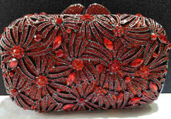 MS4224-5 new fashion wholesaler red rhinestone crystal clutch evening party bag for sexy ladies