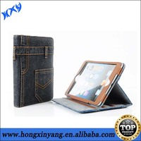 2014 new arrival jeans flip stand case cover for iPad 2 3 4