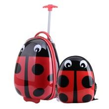 Customized Children Red Ladybug 2pcs PC luggage + backpack set