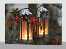 Christmas flickering candle light up led canvas painting
