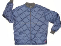 men winter protective 100% polyester padding blue quilted freezer jacket