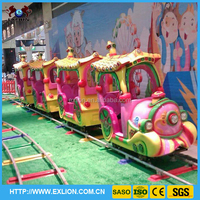 Lovely cartoon design 14 seats electric kids mini amusement track train rides