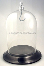 Hot sale round colorful glass dome with wooden base for home decoration