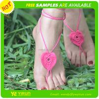 New arrival fashion sandals cotton crochet heart wedding barefoot sandals