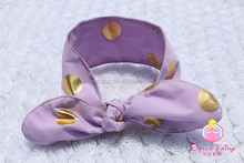 Gold dots purple baby girls Headband Cotton knitted bow headband christmas bow headbands