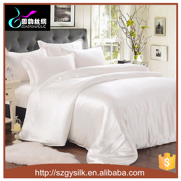 19mm Silk Charmeuse White Color Queen Size Duvet Cover
