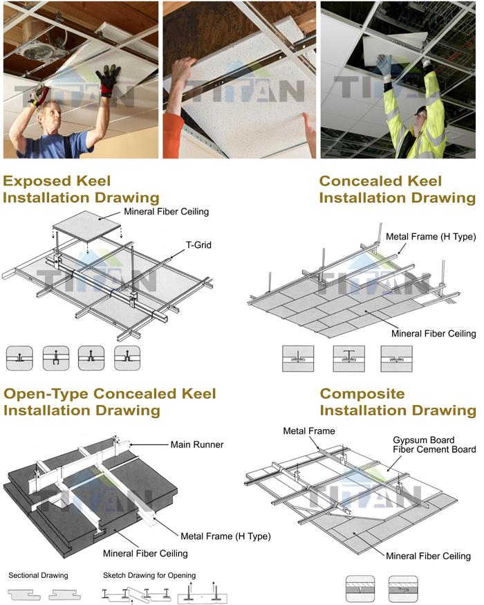 Plafond suspendu pvc plafond de gypse carreaux pour for Accessoire plafond suspendu