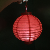 "wholesale 8"" Battery operated white paper lanterns Foldable Round Hanging LED battery paper lantern for home wedding decoration"