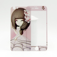 Manufacture price!!! 0.3mm 2.5D shining flower girl tempered glass screen protector for iphone6