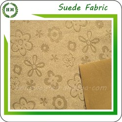 Hongway wholesale PU artificial suede leather embossed suede leather fabric