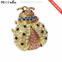 beetles style jewelry USB flash drive with Necklace water proof diamond pen drive
