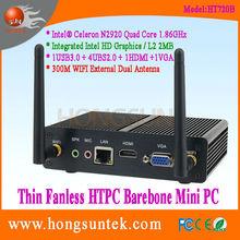 HT720B Intel Celeron N2920 Quad Core 1.86Ghz CPU Fanless Barebone Mini computer with USB, WiFi and VGA
