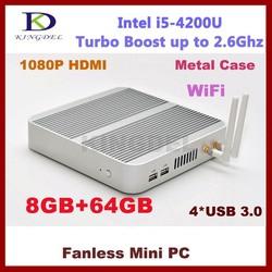 Kingdel Fanless Mini Computer Desktop, 8GB RAM 64GB SSD, Intel i5-4200U CPU, 4*USB 3.0, Wifi, VGA, HTPC Metal Case, Micro PC