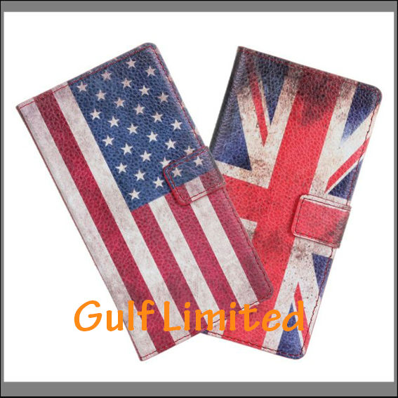 Flag case PU leather cell phone case for huawei ascend y300