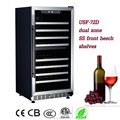 68 botella de vino chiller de doble zona enfriador de vino ss frente de haya estantes del vino de frigoríficos