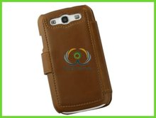 Brown pu plain phone leather cases for samsung galaxy note
