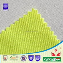 EN11611 100% cotton 21*21 200gsm water repellent flame retardant fluorescence twill fabric for safety clothing