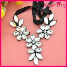 fashion lady garment accessory flower blingbling large rhinestone fake collar WNL-1390